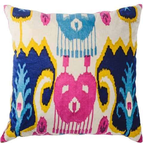 Ikat Velvet Cushion - White Multi Square