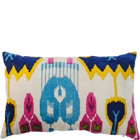 Ikat Velvet Cushion - White Multi Rectangular