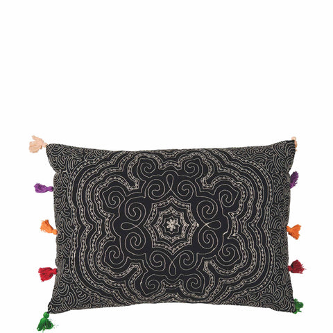 Tassled Cushion - Mandala - Black