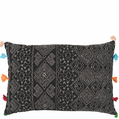 Tassled Cushion - Diamond - Black