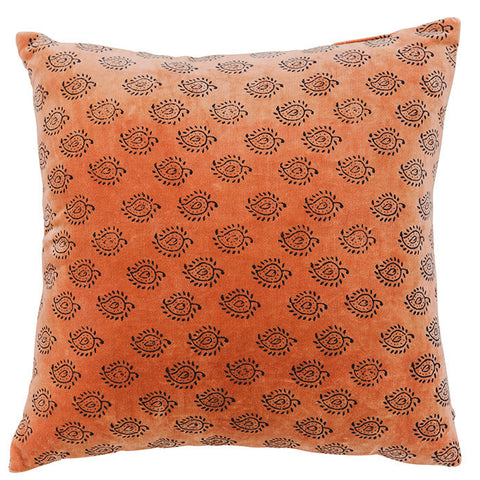 Velvet Cushion - Paisley - Burnt Orange