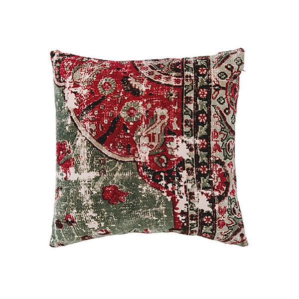 Velvet Vintage Cushion - Sage Green Multi