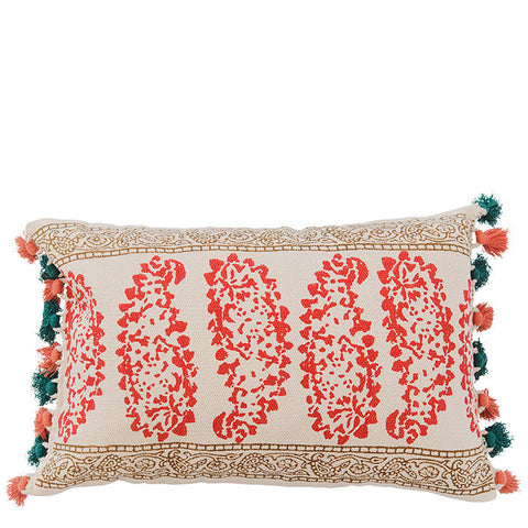 Block Printed Dhurry Cushion - Heavy Paisley - Multi / Red