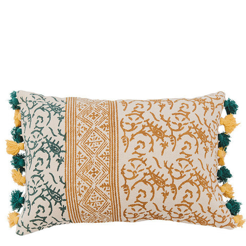 Block Printed Dhurry Cushion - Twigs - Green / Mustard