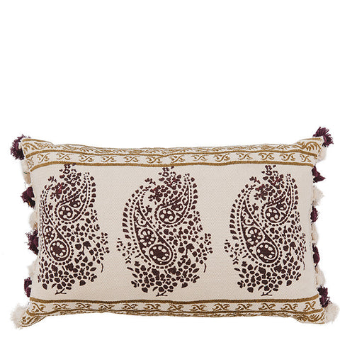 Block Printed Dhurry Cushion - Delicate Paisley - Purple / Khaki