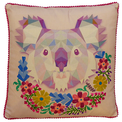Koala with Garland Cushion - Lilac Multi