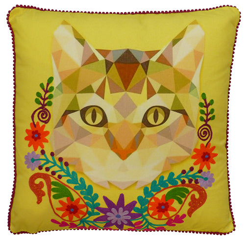 Cat with Garland Cushion - Yellow Multi