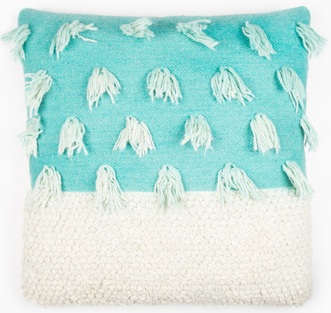 Loops & Tassels  Cushion - Aqua