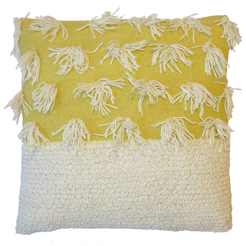 Loops & Tassels  Cushion - Mustard Yellow