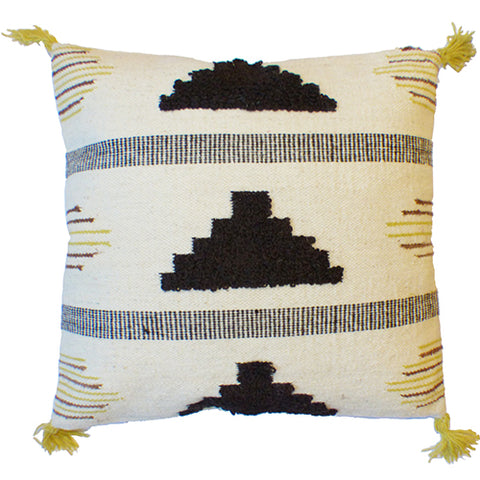 Pyramid Cushion - White / Brown / Mustard Yellow