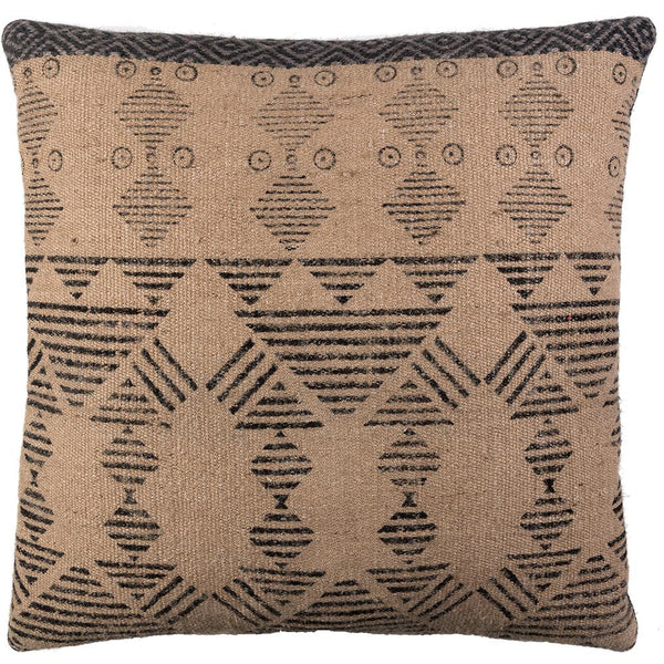 Tribal Block Printed Cushion - Tan / Charcoal