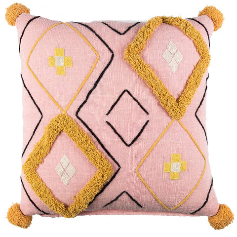 Tufted Diamond Khadi Cushion - Pale Pink / Mustard