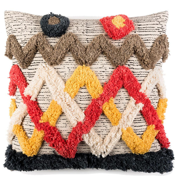 Tufted Criss-Cross Khadi Cushion - Multicolour