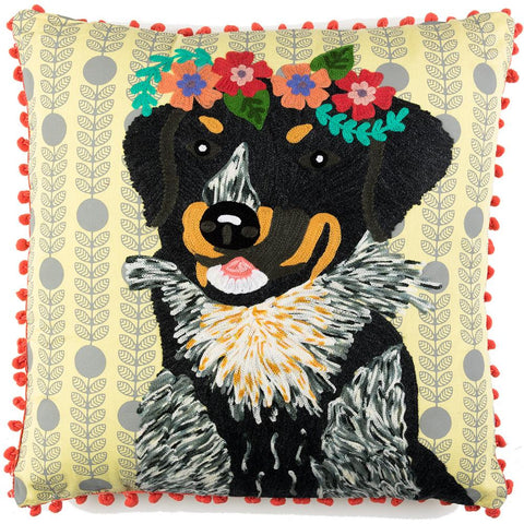 Dog with Garland Cushion - Multicolour
