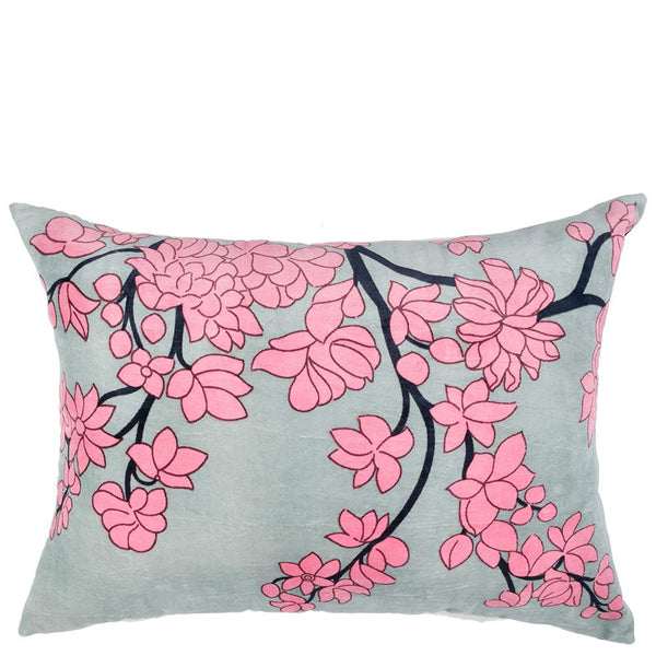 Chinoiserie Velvet Cushion - Cherry Blossom - Moss Green Multi