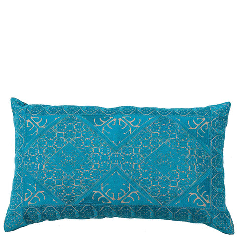 Phulkari Embroidered Cushion - Teal