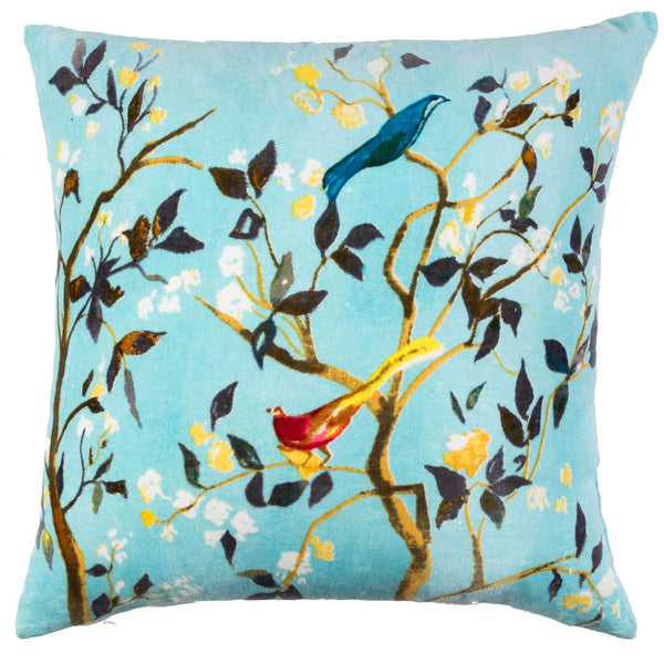 Birdsong Velvet Cushion - Pale Blue