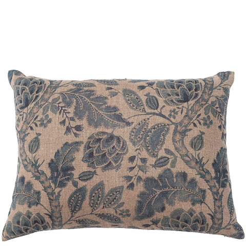Chintz Linen Cushion - Pomegranate - Natural / Slate Blue