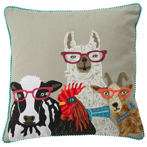 Farmyard Animals Cushion - Multicolour