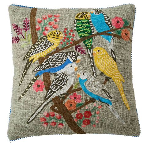 Budgerigar Cushion - Multicolour