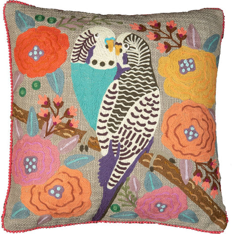 Kissing Budgerigar Cushion - Multicolour