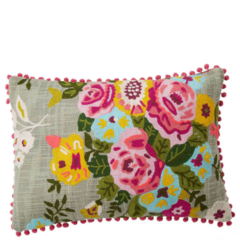 Poppy Bouquet Cushion - Multicolour