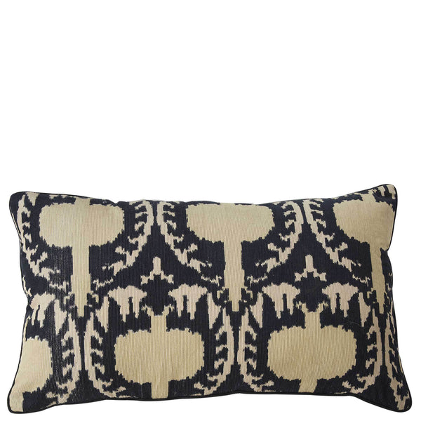 Ikat Corduroy Cushion - Ink / Beige