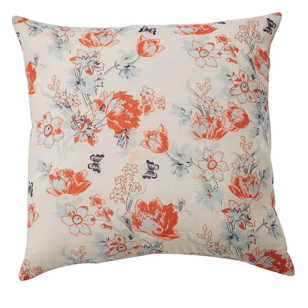 Floral Printed Linen Cushion - Blush Multi