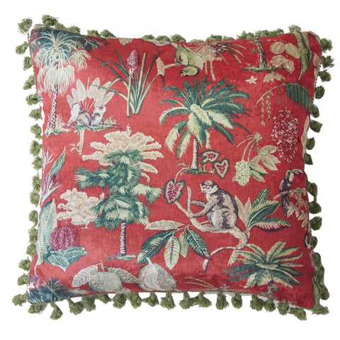Jungle Creatures Cushion - Rust Multi