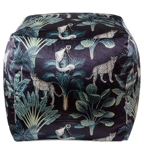 Cheetah Pouffe - Black Multi