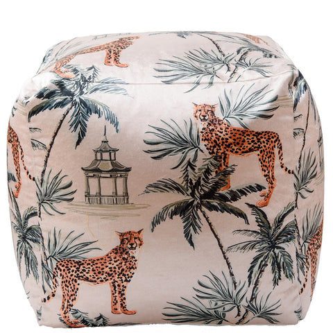 Cheetah Pouffe - White Multi