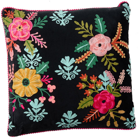 Velvet Embroidered Cushion - Black Multi