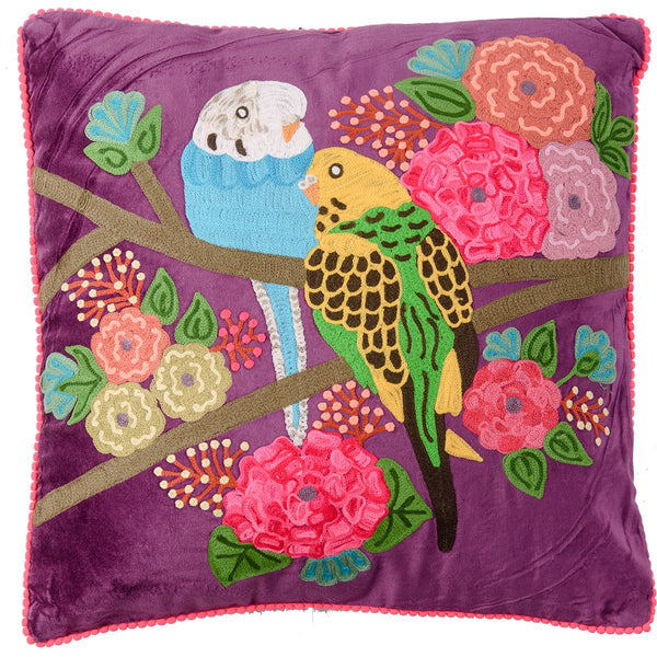 Velvet Embroidered Budgie Cushion - Purple Multi