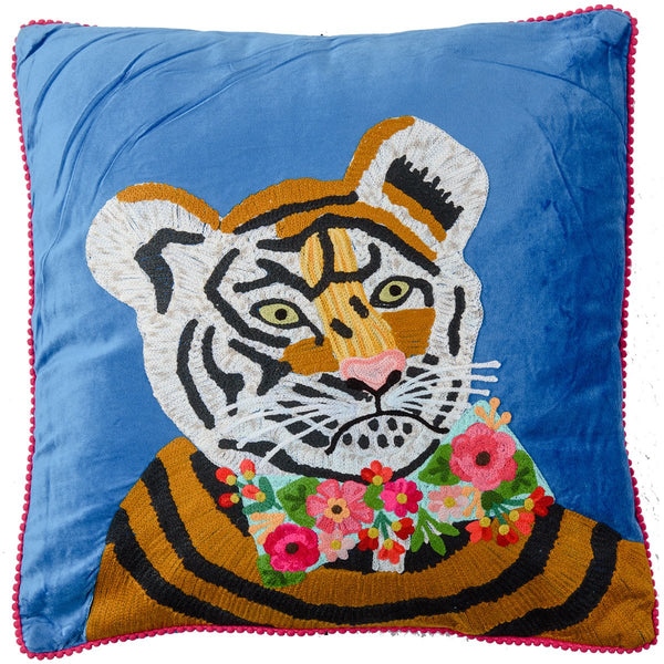 Velvet Embroidered Tiger Cushion - Cobalt Multi