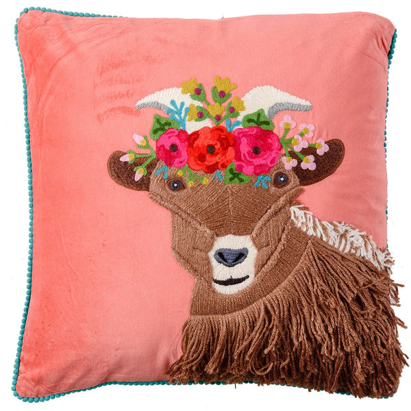 Velvet Embroidered Goat Cushion - Coral Multi