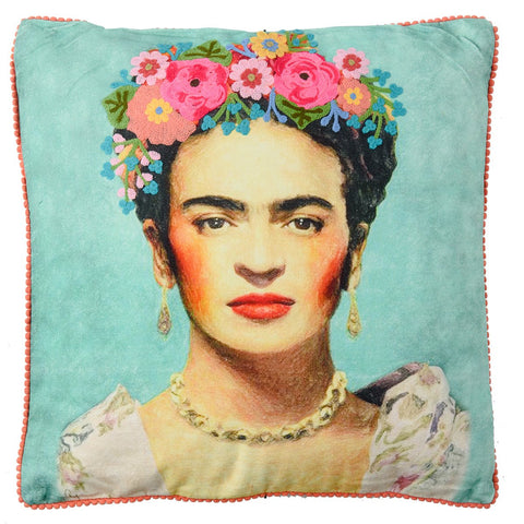 Frida Canvas Cushion - Gold Necklace - Teal