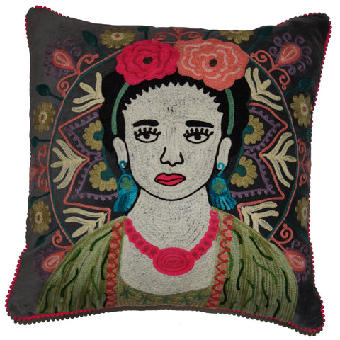 Frida Velvet Cushion - Grey