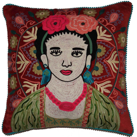 Frida Velvet Cushion - Rust