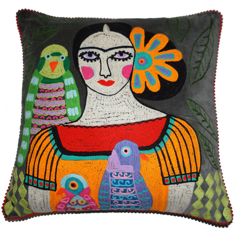 Frida Velvet Cushion with Birds - Grey