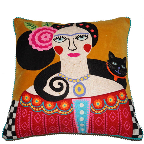 Frida Velvet Cushion with Cat - Mustard