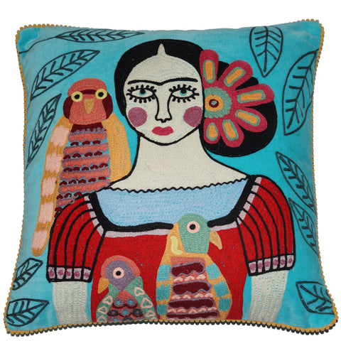 Frida Velvet Cushion with Birds - Turquoise