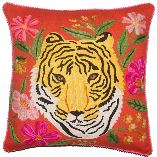 Tiger Cushion - Portrait - Orange Multi