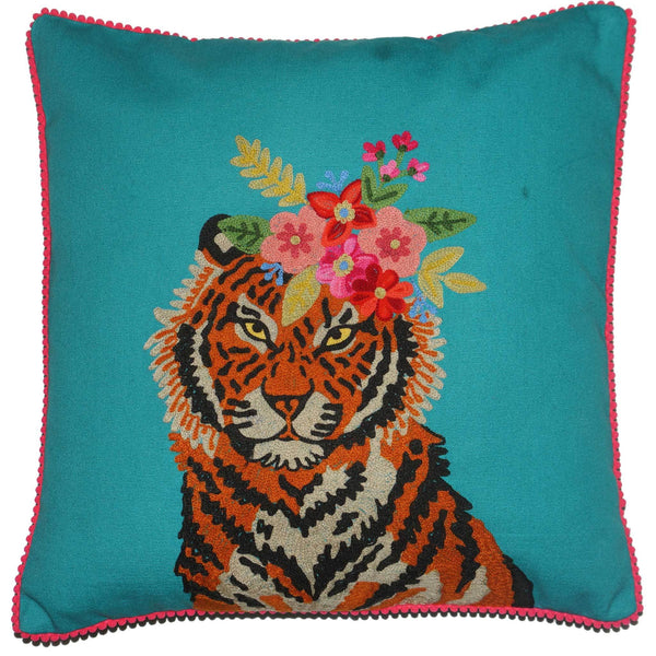 Tiger Cushion - Floral Garland - Turquoise Multi