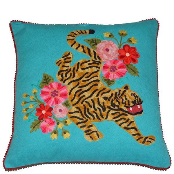 Tiger Cushion - Blossom - Turquoise Multi