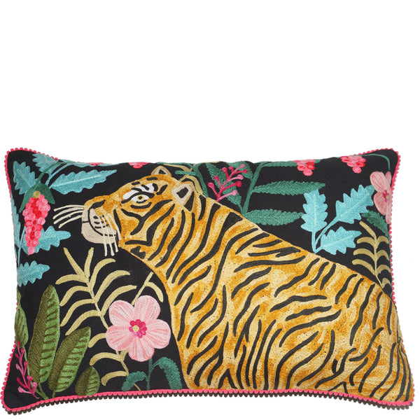 Tiger Cushion - Hunting - Black Multi