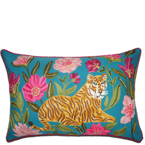 Tiger Cushion - Sitting - Turquoise Multi