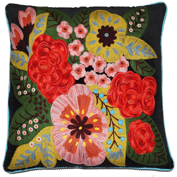 Floral Velvet Cushion - Black Multi