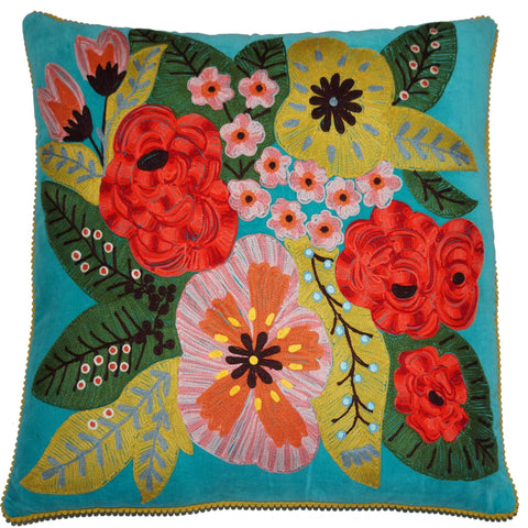 Floral Velvet Cushion - Turquoise Multi