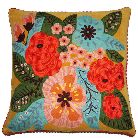 Floral Velvet Cushion - Mustard Multi