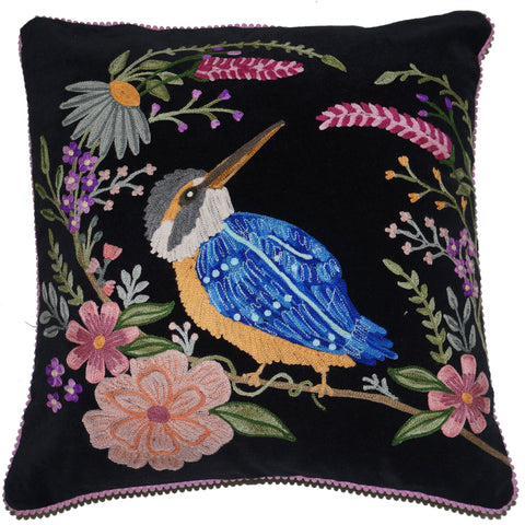 Kingfisher Velvet Cushion - Black Multi